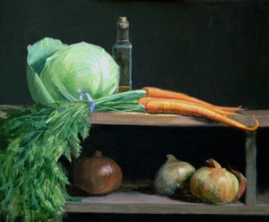 """Thomas S. Buechner """"Cabbage, Carrots and Onions"""" 20x24 oil $4490."""