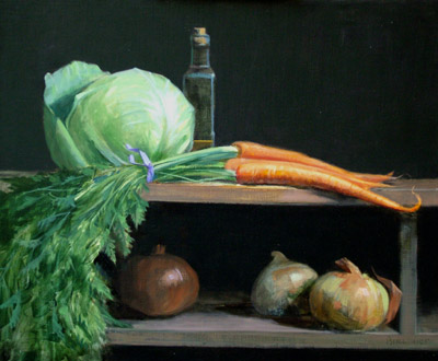 "Thomas S. Buechner ""Cabbage, Carrots and Onions"" 20x24 oil $4490."