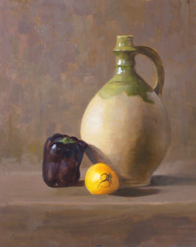 "Thomas S. Buechner ""Clyde's Jug"" 20x16 unframed oil $3,190."