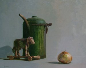 """Thomas S. Buechner """"Cow, Can & Onion"""" 16x20 oil $3,390."""
