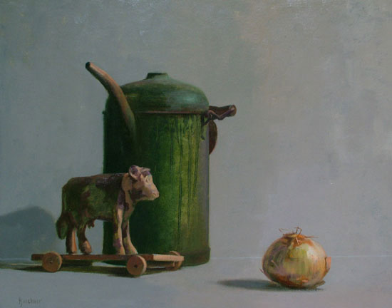 "Thomas S. Buechner ""Cow, Can & Onion"" 16x20 oil $3,390."