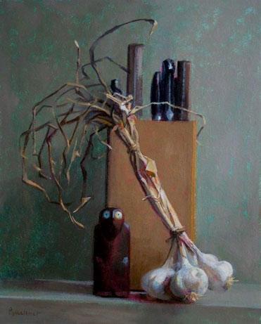 """Thomas S. Buechner """"Knife Box"""" 20x16 oil framed $3,300."""