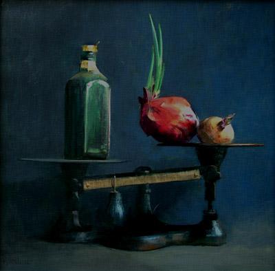 """Thomas S. Buechner """"Lightness of Life"""" 22x22 oil framed $4,200."""