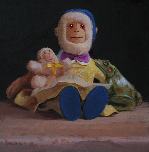 "Thomas S. Buechner ""Monkey Mother"" 12x12 oil $2,550."