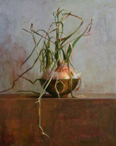 """Thomas S. Buechner """"Old Sprouted Onion"""" 20x16 oil $3,390. framed"""