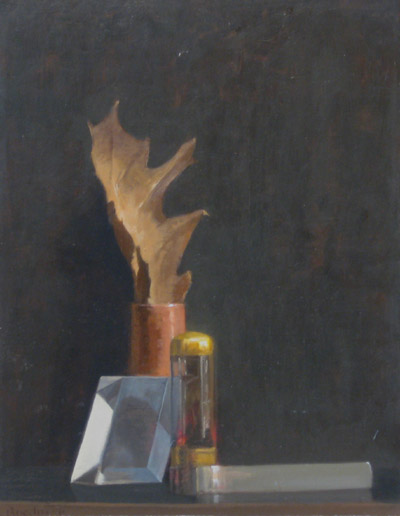 "Thomas S. Buechner ""Prism, Leaf"" 14x11 unframed oil $2,420."