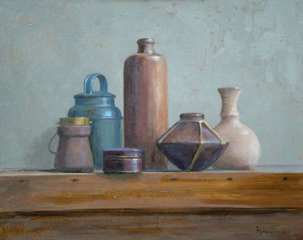 "Thomas S. Buechner ""Six Containers"" 16x20 oil $3,390. framed"