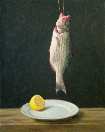 "Thomas S. Buechner ""Striped Bass and Lemon"" 20x16 unframed oil $3,190."
