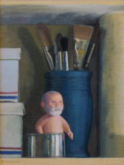 "Thomas S. Buechner ""Tom (Doll) and Brushes"" 12x9 unframed oil $2,310."