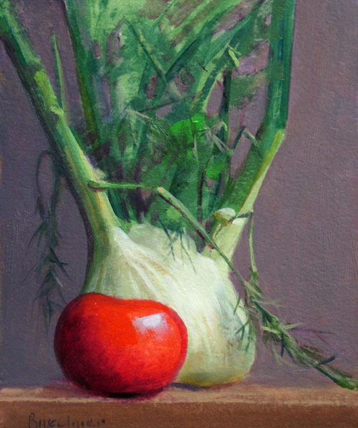 "Thomas S. Buechner ""Tomato and Fennel"" 10x8 oil $1,970."