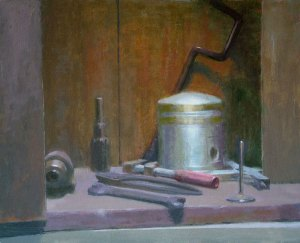 "Thomas S. Buechner ""Tools"" 16x20 oil $3,390. framed"