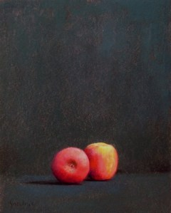 """Thomas S. Buechner """"Two Apples Alone"""" 20x16 oil $3,390."""