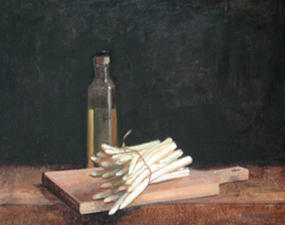 "Thomas S. Buechner ""White Asparagus"" 14x18 oil framed $3,100."