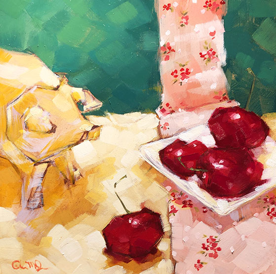 """Christina Johnson """"Cherry Pickin'"""" 8x8 oil $150."""