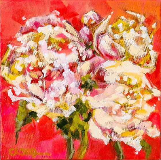 """Christina Johnson """"Peony Power"""" 8x8 oil on gallery wrapped canvas $150."""