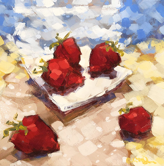 "Christina Johnson ""Summer/Strawberry Quilt"" 8x8 oil $150."