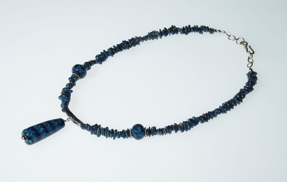 """Becky Congdon """"Anchor Blue/Teal Tahiti Ribbons Necklace"""" Handmade flameworked glass beads, apatite gemstone, SS 24"""" $180. SOLD"""