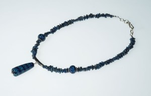 "Becky Congdon ""Anchor Blue/Teal Tahiti Ribbons Necklace"" Handmade flameworked glass beads, apatite gemstone, SS 24"" $180. SOLD"