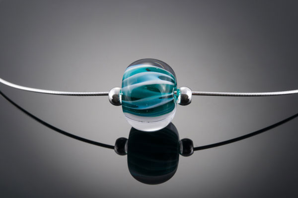 "Becky Congdon ""Aqua Teal Twist Omega"" handmade flamework glass bead/sterling silver 18"" length $95.SOLD(photo by Ann Cady)"