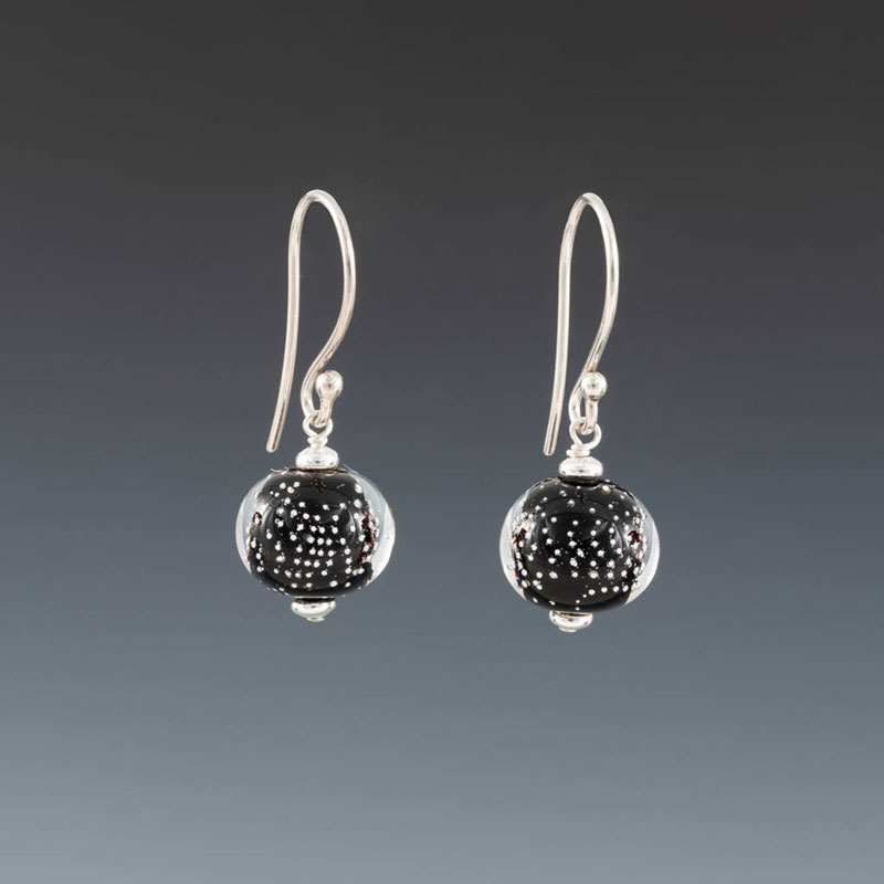 """Becky Congdon """"Black Sparkling Earrings - Earwires"""" handmade flameworked glass beads with sterling silver findings $38. Inquire on availability"""
