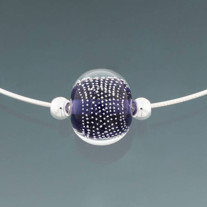 """Becky Congdon """"Ink Blue Sparkling Omega"""" handmade flameworked bead with SS components $95. Inquire on availability"""