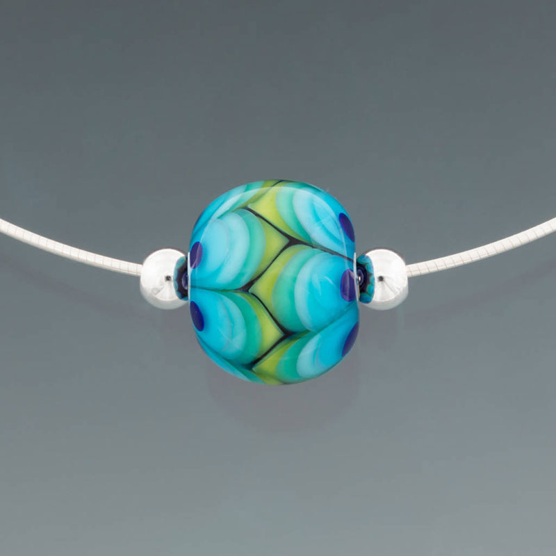 """Becky Congdon """"Modern Green Leaves Omega"""" handmade flameworked glass bead with sterling silver findings/chain 18"""" $95. Inquire on availability"""