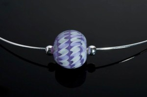 "Becky Congdon ""Violet Twist Omega"" handmade flamework beads with SS components $95. SOLD (photo by Ann Cady)"