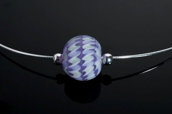 "Becky Congdon ""Violet Twist Omega"" handmade flameworked glass bead with sterling silver findings/chain 18"" $95. Inquire on availability (photo by Ann Cady)"