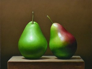 "Trish Coonrod ""2 Seckel Pears"" 9x12 oil on canvas $1,300."