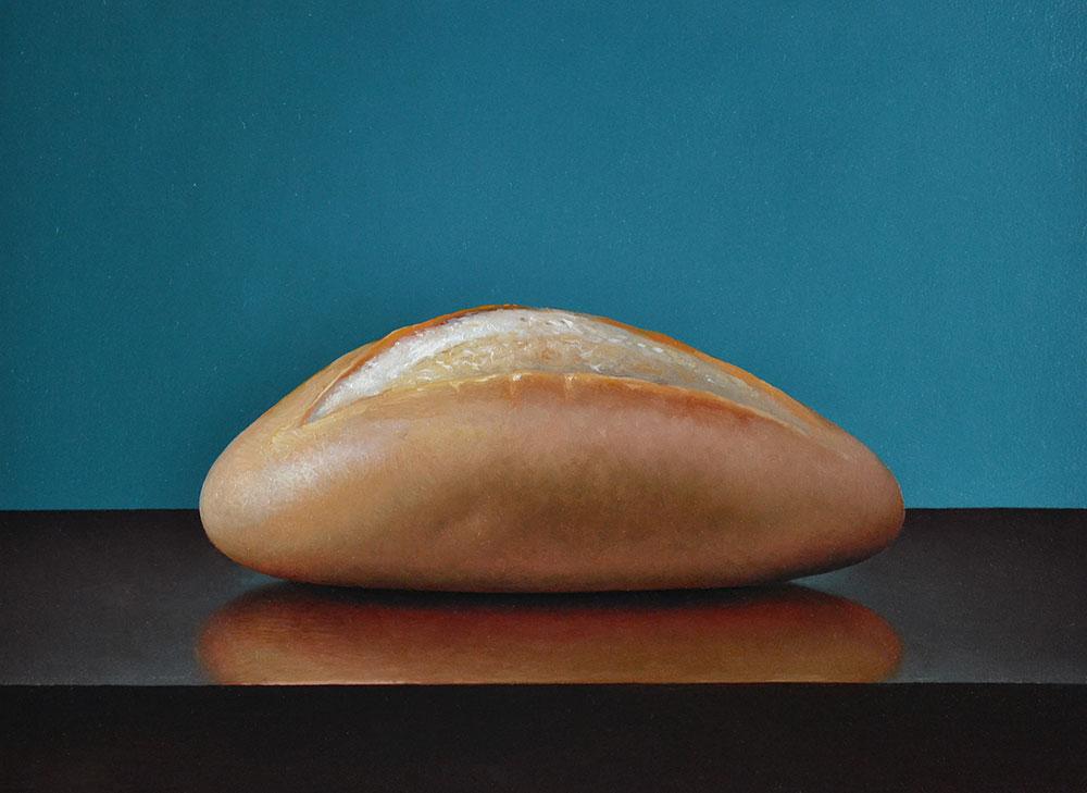 "Trish Coonrod ""Bread"" 9x12 oil on aluminum $1,065."