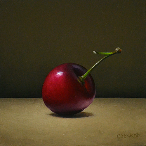 "Trish Coonrod ""Cherry"" 4x4 oil/wood panel $350. SOLD"
