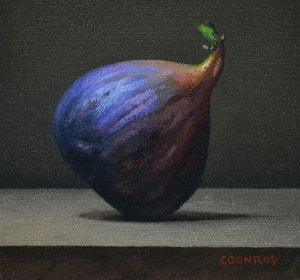 "Trish Coonrod ""Fig"" 4x4 oil $325."