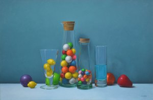 """Trish Coonrod """"Still Life with Gumballs and Kool-Aid"""" 20x30 oil on canvas $4,750."""