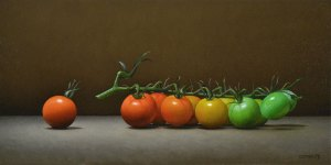 """Trish Coonrod """"Sungold Tomatoes"""" 8x16 oil on canvas $1,475. SOLD"""