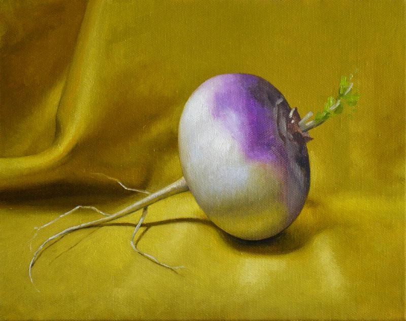 "Trish Coonrod ""Turnip"" 8x10 oil/c $695."