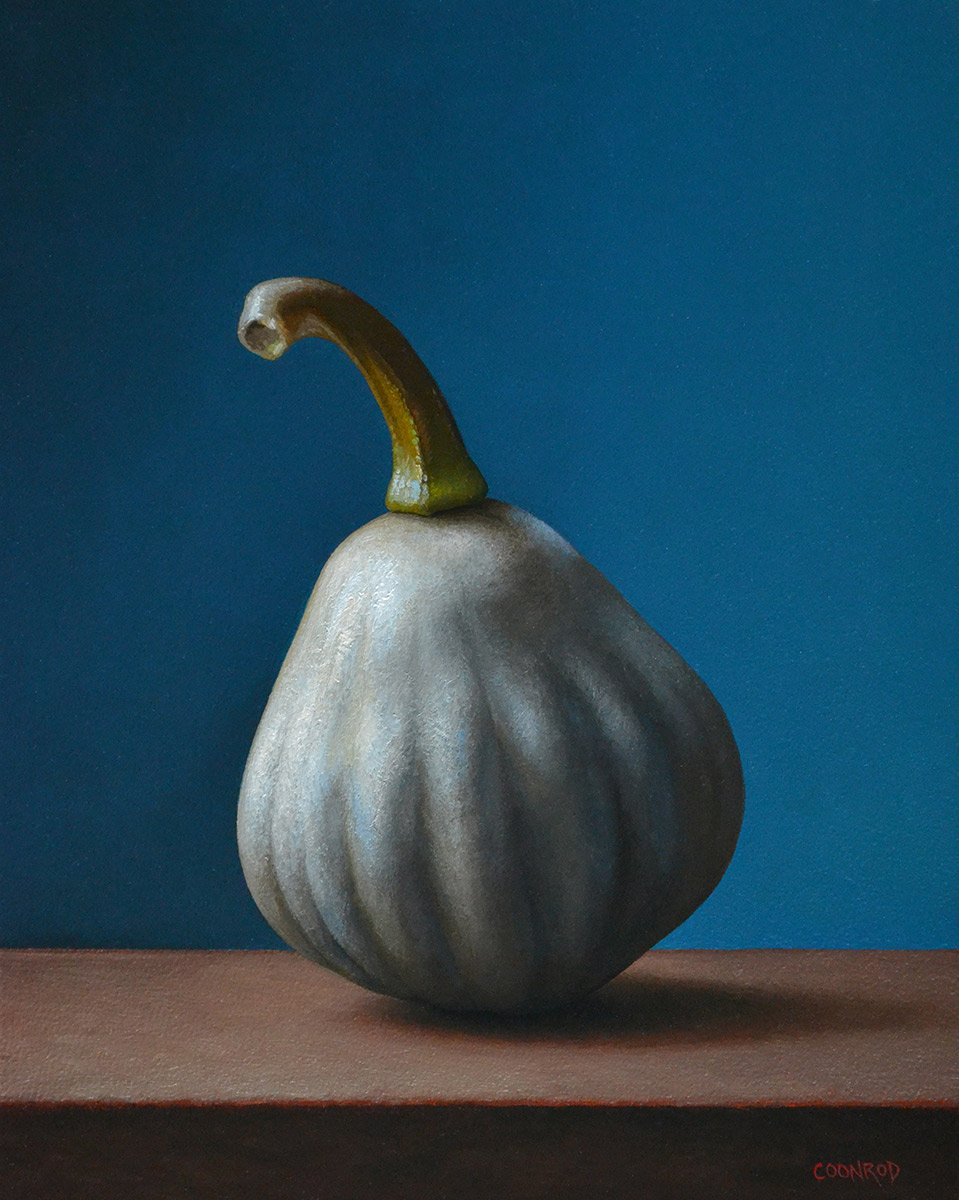 """Trish Coonrod """"White Gourd - By the Window"""" 10x8 oil on aluminum composite material $1,300."""