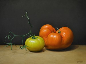 "Trish Coonrod ""Homegrown Tomatoes"" 9x12 oil on acm $1,500."