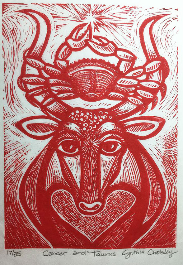 "Cynthia Cratsley ""Cancer and Taurus"" 7x5 linocut w/ red ink $160. INQUIRE *"