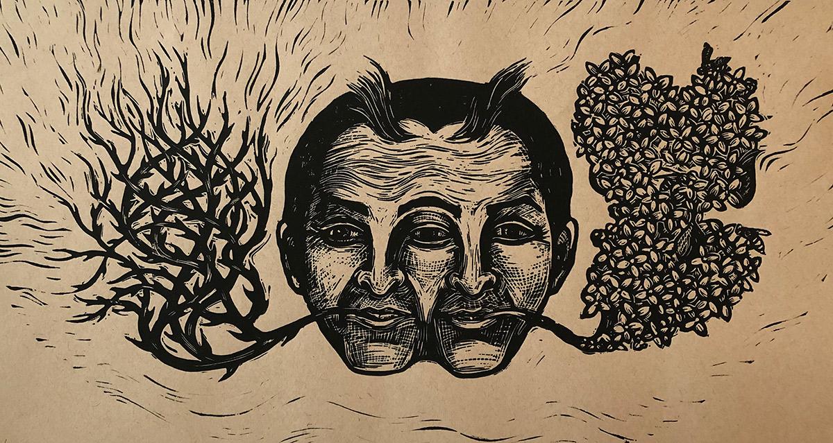 "Cynthia Cratsley ""Duality"" 9x18 linocut $350."