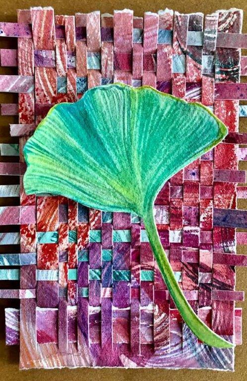 """Cynthia Cratsley """"Ginkgo"""" 7.5x5.5 collage $95."""