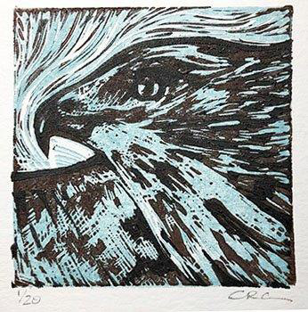 "Cynthia Cratsley ""Hawk"" 3x3 linocut $50. Inquire"