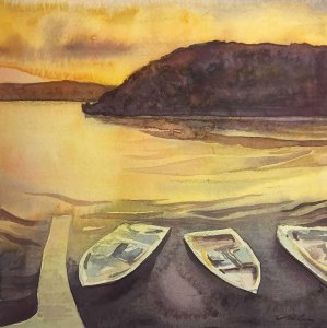 "Cynthia Cratsley ""Keuka Bluff - August"" 6x6 watercolor $195."