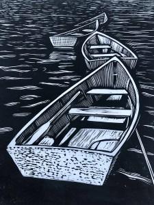 "Cynthia Cratsley ""Rowboats, Star Island"" 9.5x8 linocut $300. Inquire"