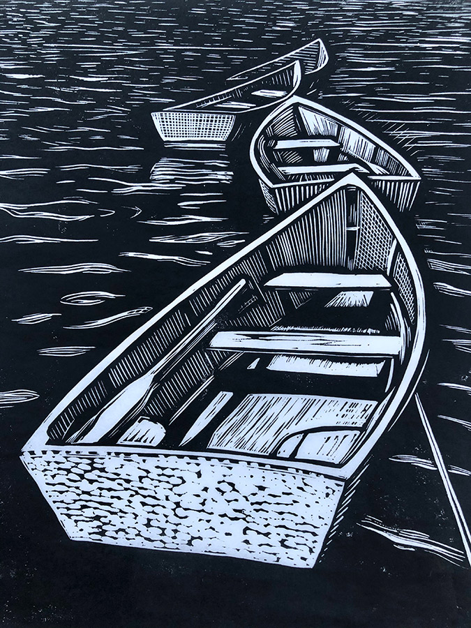 "Cynthia Cratsley ""Rowboats, Star Island"" 9.5x8 linocut $300. Inquire"
