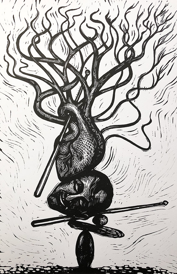 "Cynthia Cratsley ""Sticks and Stones"" 18x11 linocut $375."