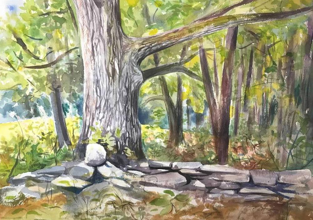 "Cynthia Cratsley ""Stone Wall - Foots Hill"" 9.5x14 watercolor $320."
