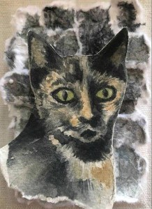 "Cynthia Cratsley ""Stray Cat"" 5x4 collage $65."