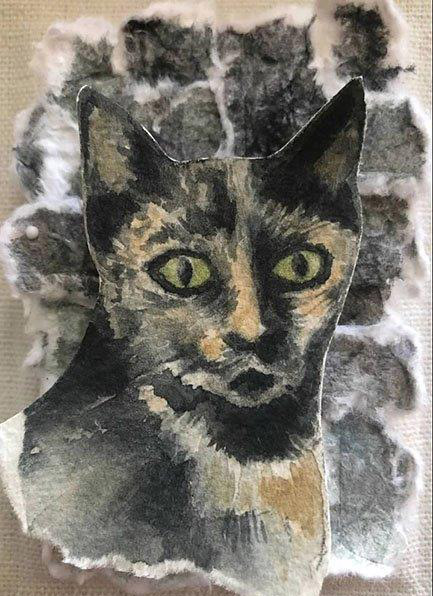 "Cynthia Cratsley ""Stray Cat"" 5x4 collage $65."