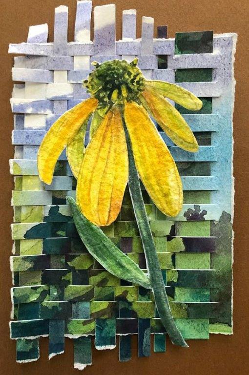"Cynthia Cratsley ""Ten-Petal Sunflower"" 7.5x5.5 collage $95."