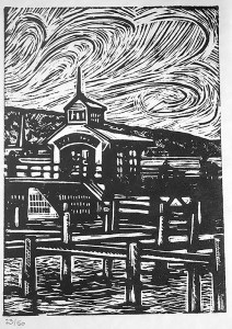 "Cynthia Cratsley ""The Pier at Watkins Glen"" 8x6 Limited edition linocut $125. Inquire"